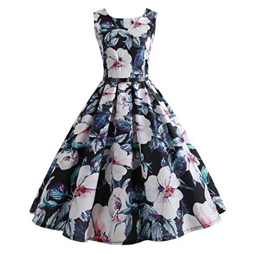 iYBUIA Autumn Hepburn Same Women Vintage Printing Bodycon Sleeveless Casual Evening Party Prom Swing Dress(Black,L)