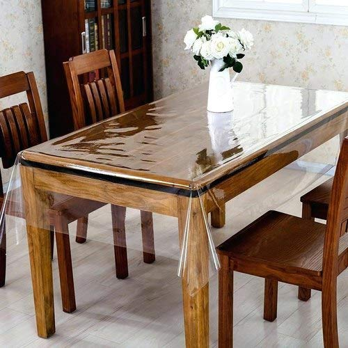 Daze décor Transparent PVC Square 4 Seater Dining Table Cover 60×60 inches, with Scalping Border, Super Soft Super…