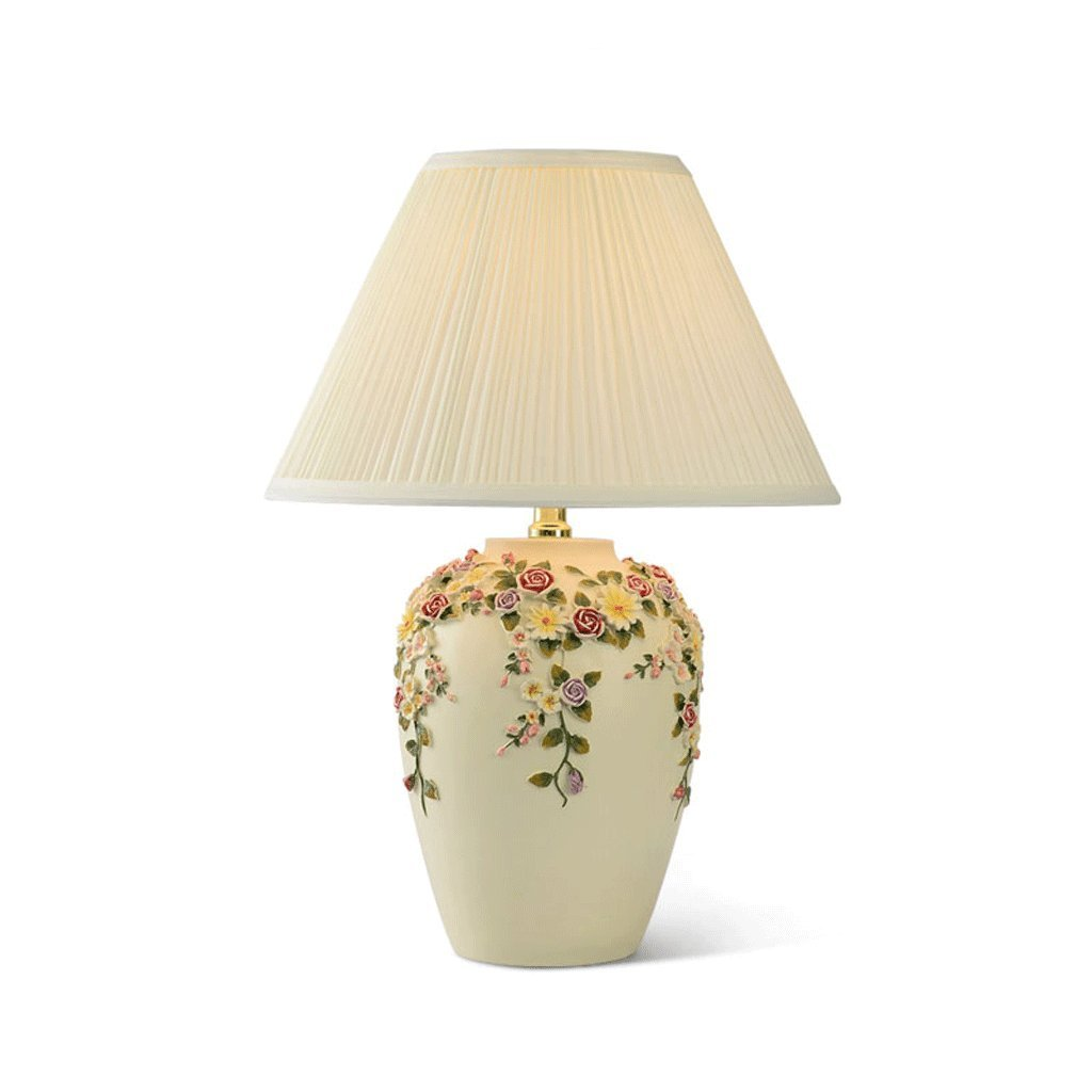 European Rose Vase Lamp, Modern Fashion Creative Living Room Bedroom Bedside Counter Lamp, Fabric Shade Table Lamp