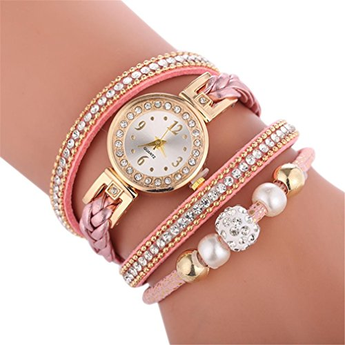 Swyss Women Fashion Trend Multilayer Bracelet Diamond Analog Quartz Round Wrist Watch Chic Temperament Jewelry (G)