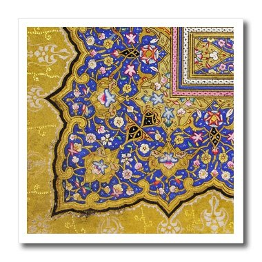 3dRose ht_162530_1 Purple and Matte Gold Arabian Floral Pattern Persian Style Flowers Iron on Heat Transfer for White Material, 8 by 8-Inch (Arabian Sweatshirt)
