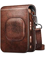 Fintie Carrying Case for Fujifilm Instax Mini LiPlay Hybrid Instant Camera - Premium Vegan Leather Portable Bag Cover with Removable Strap (Brown)