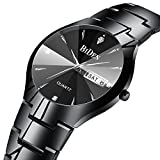 Mens Black Watches Men Waterproof Dress Luxury Date Calendar Stainless Steel Analogue Quartz Wrist Watch