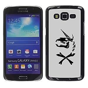 Paccase / SLIM PC / Aliminium Casa Carcasa Funda Case Cover - Unicorn Grey Horse Funny Black - Samsung Galaxy Grand 2 SM-G7102 SM-G7105