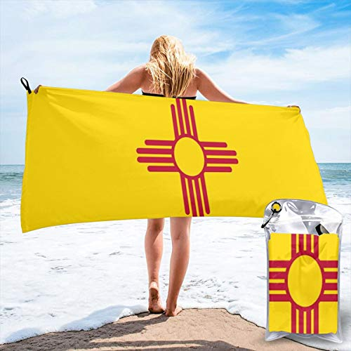 Flag New Mexico usa,america,sun,Zia Sun Symbol,New Mexican,Albuquerque,Las Cruces,santa Fe,roswell Beach Quick Drying Towel Microfiber Yoga Fitness Absorbent Towel Outdoor Climbing Quick Drying - Fe Towel Santa