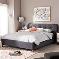 Baxton Studio Germaine Queen Platform Bed in Dark Gray