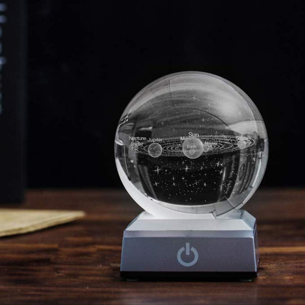 farawamu Faux Crystal Ball Desktop Decor 60//80mm 3D Solar Sun System Model LED Light Faux Crystal Ball Decor Valentine Ornament Photo Color 60mm