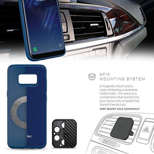Evutec AERGO Handyschutzhülle für Samsung Galaxy S8, Fallschutzeigenschaften nach Militärstandard, ballistisches Nylon, mit magnetischer Halterung, Blau