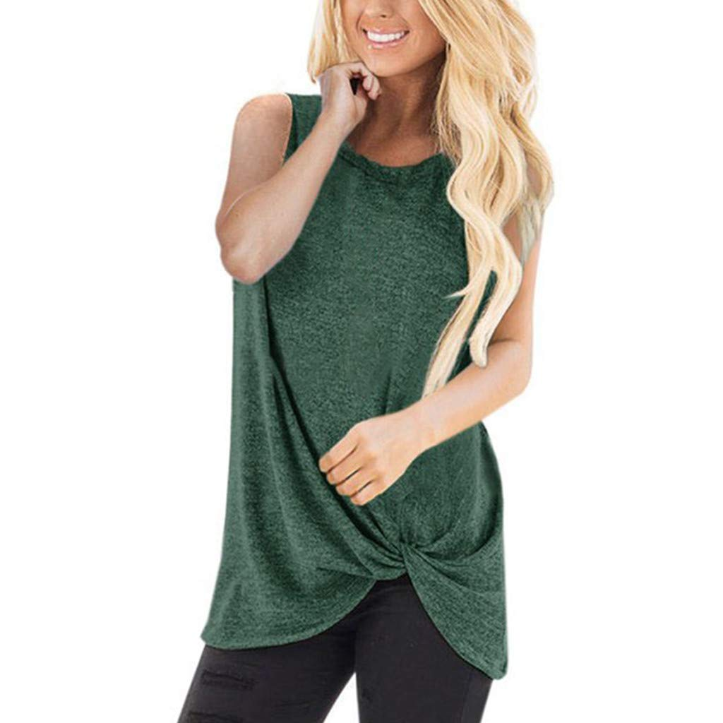 iZHH Shirts for Women Fashion Loose Sleeveless O-Neck Casual Solid T-Shirt Blouse Tops(Army Green,L)