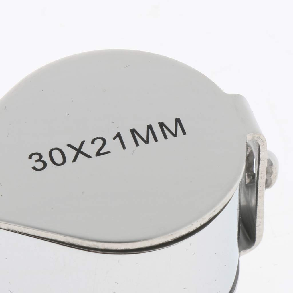 LOVIVER Mini Foldable 30 Times Magnifying Magnifier Glass Jeweler Eye Jewelry Loupe Lens Size 21 mm Diameter