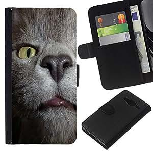 KLONGSHOP // Tirón de la caja Cartera de cuero con ranuras para tarjetas - Gato Estornudar Habana Chartreux Azul ruso - Samsung Galaxy Core Prime //