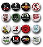 Set of 16 (1.25 Inch) Funny Zombie Pinback Buttons/Pins/Badges