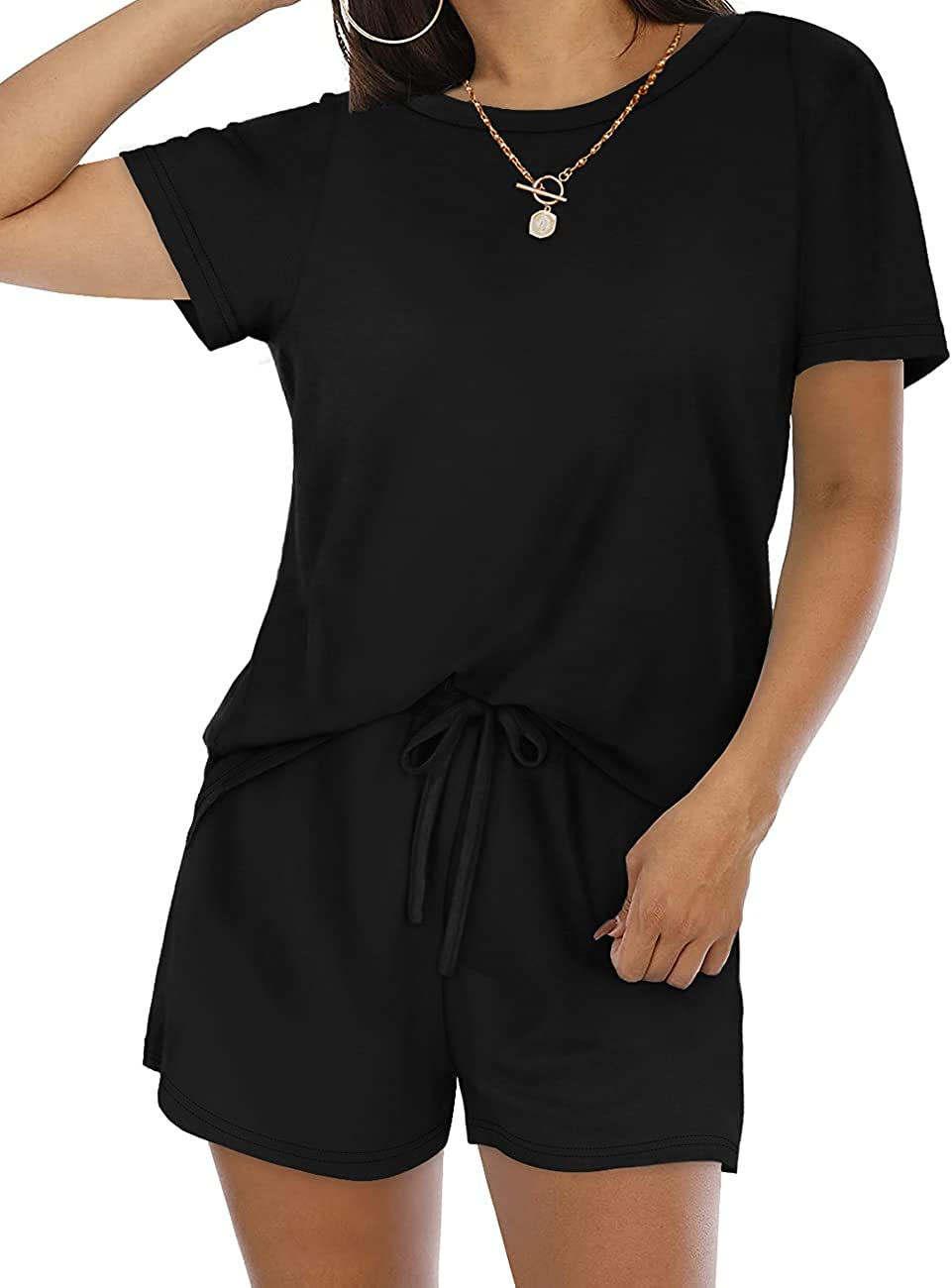 Sousuoty Womens Two Max 52% OFF Piece 2021 model Outfits with Shorts Pockets Set