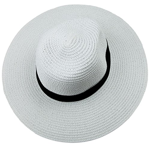 Samtree Women's Wide Brim Beach Cap Foldable Straw Roll Up Summer Sun Hat (01-White)