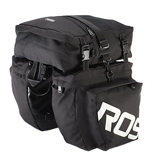 Runytek Roswheel 3 in 1 Black Multi-function Outdoor Bicycle Pannier Rear Seat Bag, Durable and Waterproof, 2 Side Bags + 1 Top Bag (1 Seat Bag)