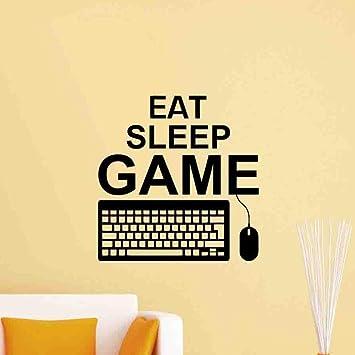 zxddzl Eat Sleep Game Gaming Quote Tatuajes De Pared Teclado De La Pc Controlador del Ratón Gamer Playroom Boy Dormitorio Decor41 * 42 Cm: Amazon.es: Hogar