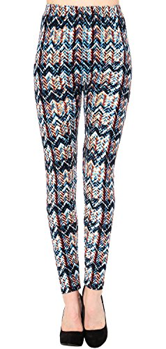 Brushed Cotton Wave - VIV Collection Plus Size Printed Brushed Leggings (Rugged Waves)