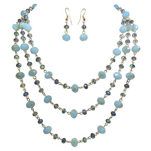 3 Row Layered Beveled Glass Beaded Boutique Style Necklace And Earrings Set (Blue Tones)