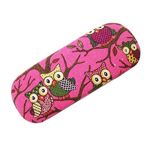 Lesirit Hard Shell Eyeglass Case Glasses Holder (Owl-Hot (Best Case Star Eyeglasses)