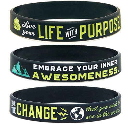 Inkstone (6-Pack) Positive Awareness Wristbands - Be The Change, Embrace Your Awesomeness, Live with Purpose ()