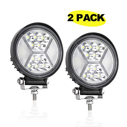 (LED Pods, AKD Part 4 inch 96W Round LED Light Bar with DRL Function Off Road Driving Lights OSRAM Spot Flood Combo Work Lights for Truck Jeep SUV Wrangler Pickup 2 Years Warranty)