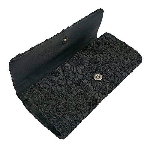 Handbag Bridal Pleated Prom Diamante Womens Purse Black AITING Clutch 5 Satin Evening Bag xw8q0a