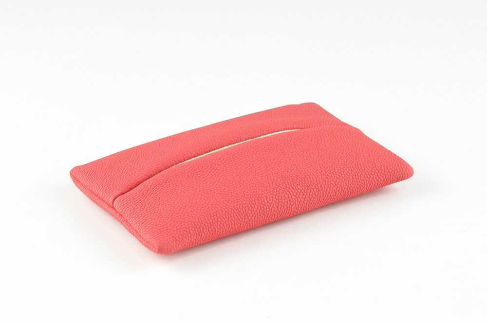 「Thing.Is」PU Leather Pocket Tissue Cover for Purse, Travel Tissue Holder, Travel Tissue Holder, Portable Tissue Case, Tissue Pouch, Red