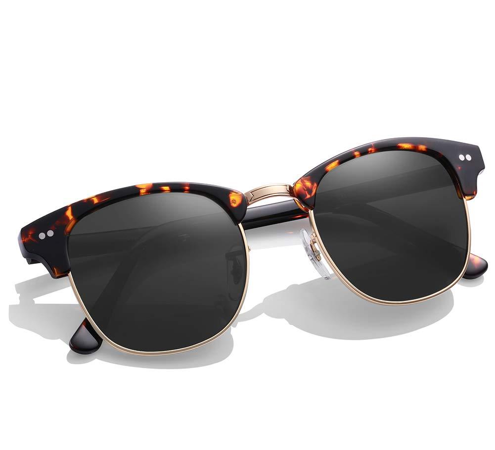 Carfia Semi Rimless Sunglasses for Women Men, Quality G15 Glass Lenses (Grey Lens) by Carfia