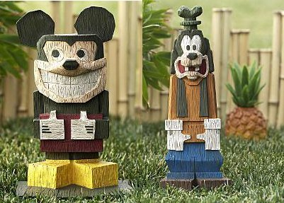 Disney Store Mickey Mouse And Goofy Resin Tiki Yard Statues