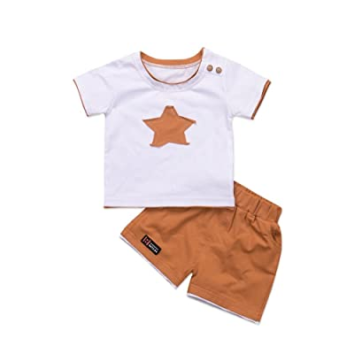 4fa7827311be MiyaSudy Baby Boys 2Pcs Clothes Infant Toddler Boy Star Embroidered ...
