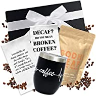 Coffee Gift Basket - Includes Funny Insulated Coffee Mug, Coffee Inspired Hand Towels and Direct Trade Coffee | Coffee Gifts for Women Men | Coffee Gifts Box with Ribbon | Gift for Coffee Lover