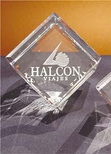 Cubo Pisapapeles de Cristal Personalizado