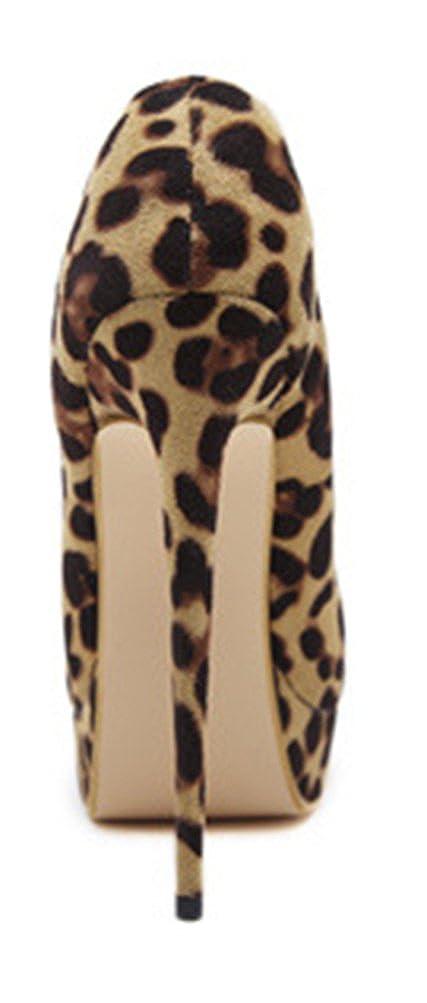 Easemax Damen Modisch Modisch Modisch Leoparden Muster Nubuk Peep Toe Hohe Plateau Pumps Hellbraun ecdd06