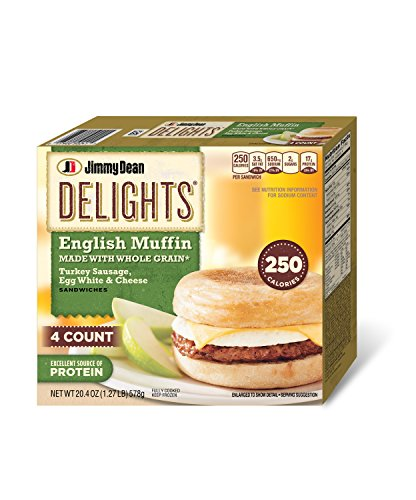 - Jimmy Dean, Delights English Muffin, Whole Grain Turkey Sausage, Egg White and Cheese, 4 Count