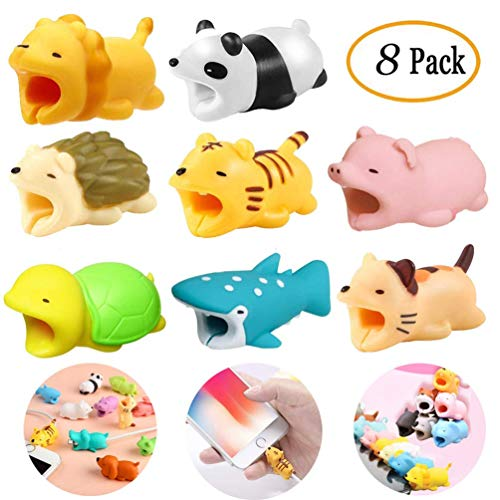 8 Pieces Cable Animal Bites Cute Animal Cable Protector for iPhone Cable Charging Cord Saver, Cute Creature Bites Cables Charger Protector Accessory...