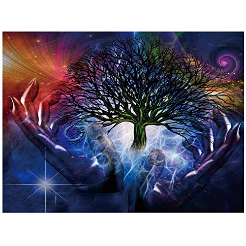 TDYNASTY DESIGN Tree of Life Wall Hanging Tapestry Psychedelic Forest with Blue Hands and Colorful Background for Bedroom Living Room Dorm