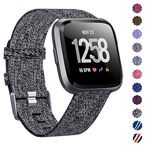 KIMILAR Compatible Fitbit Versa Bands, Women Men Large Small Woven Fabric Breathable Accessories Strap Compatible Fitbit Versa Smart Watch (Carbon Black, Small(5.5