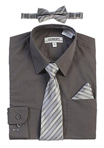 Gioberti Boy's Long Sleeve Dress Shirt and Stripe Zippered Tie Set, Dark Gray, Size 16]()