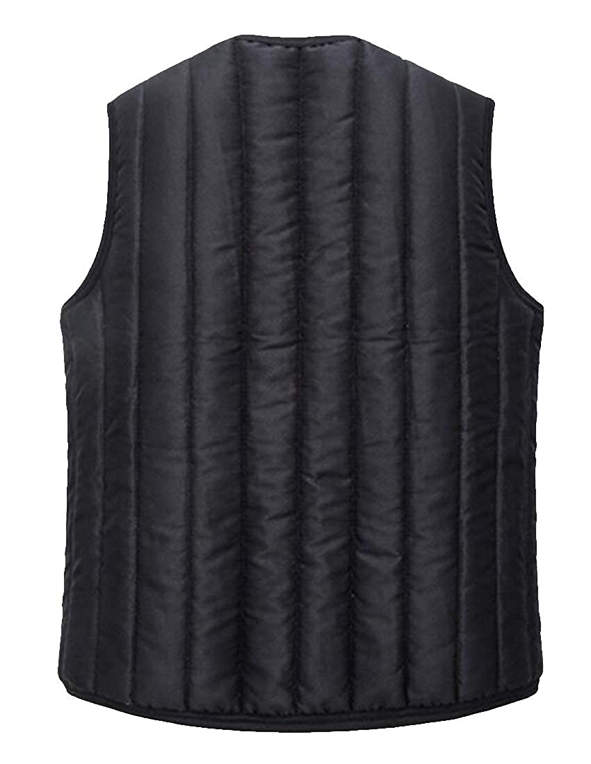 Fubotevic Men Warm Faux Fur Lined Sleeveless Winter Down Quilted Coat Vest Waistcoat