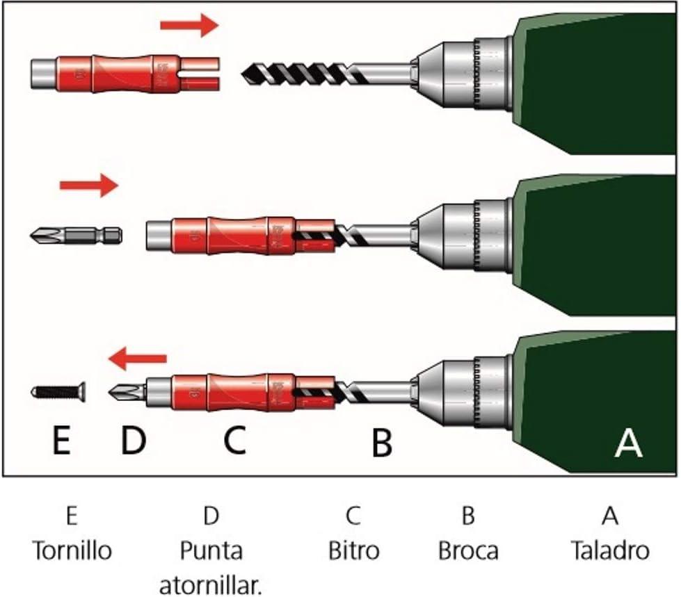 Di/ámetro 8 Adaptador para Atornillar Y Taladrar A La Vez Tipo Bitro Apolo 8Bitro 1 Unidad