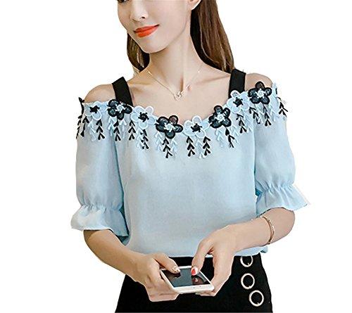 OUXIANGJU Women Summer Elegant White Off Shoulder Blouse Shirt Short Sleeve Flower Tassel Tops at Amazon Womens Clothing store: