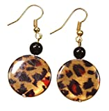 ''Prowling About'' Shiny Leopard Print Earrings, 2 Inches