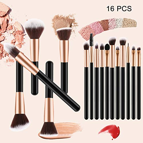 YUUGA Makeup Brush Set, 16pcs Premium Wooden Handle Cosmetic Brushes,Rose Gold Makeup Kit for Foundation Concealers Eye Shadows etc with Pu Leather Bag