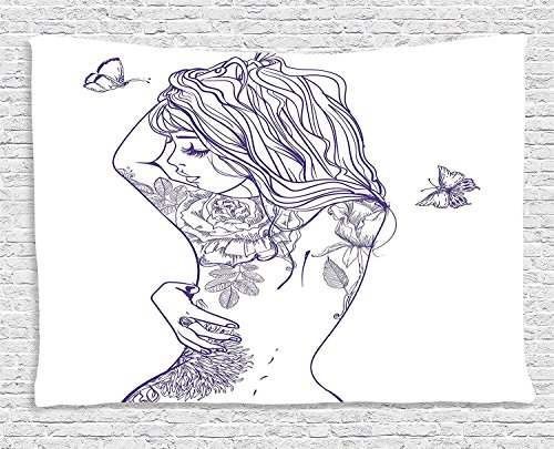 Girly Collection Young Girl with Tattoos and Butterflies Free Your Soul Inspired Long Hair Feminine Image Purple White Supersoft Throw Fleece Blanket 49.21x78.74 (Hippie Tattoo Designs)