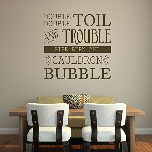 Double Double Toil and Trouble Fire Burn and Cauldron Bubble - Vinyl Wall Decal, Halloween Decorations, Witches Brew, All Hallows Eve, Witch (Projects For Halloween For School)