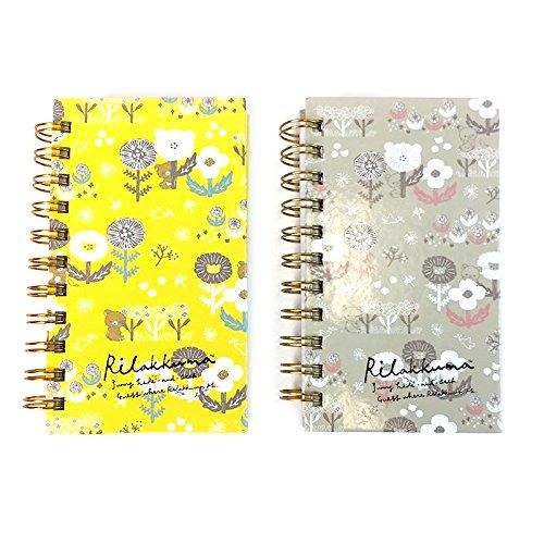 San-X Rilakkuma College Ruled Mini Spiral Hard Cover Notebook Note Pad 2pcs Set (Floral)