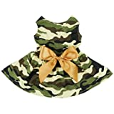 Fitwarm Fashion Army Green Camouflage Pet Dog Dress Clothes Camo Shirts Vest Comfy Apparel, Medium