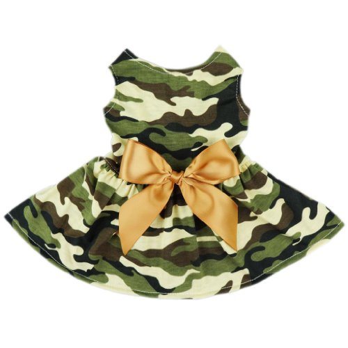 Fitwarm Fashion Army Green Camouflage Pet Dog Dress Clothes Camo Shirts Vest Comfy Apparel, (Camo Dog Hoodie Clothes)