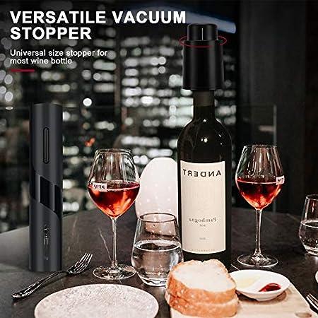 Komake sacacorchos eléctrico,sacacorchos vino, juego de abridor de botellas de vino con extractor de abridor/cortador de papel de aluminio/vertedor de vino y tapón de vino al vacío
