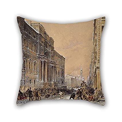 Oil painting samuel bough snowballing outside edinburgh university cushion cases best for boys